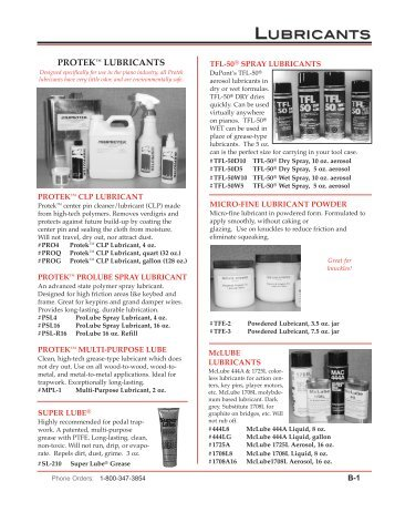 View Entire Supplies Section - Pianotek Supply Company