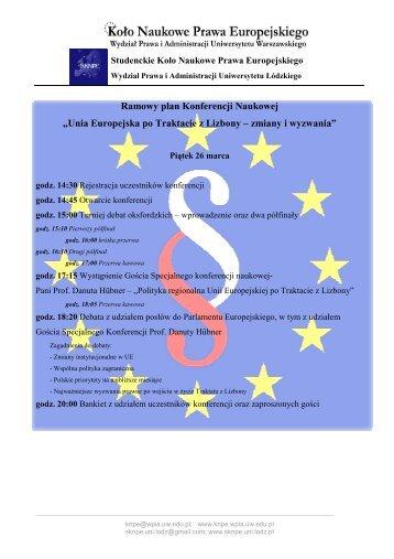 Ramowy plan konferencji - oba dni - Wydział Prawa i Administracji UW