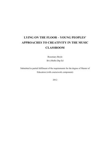 approaches to creativity in the music classroom - University of ...
