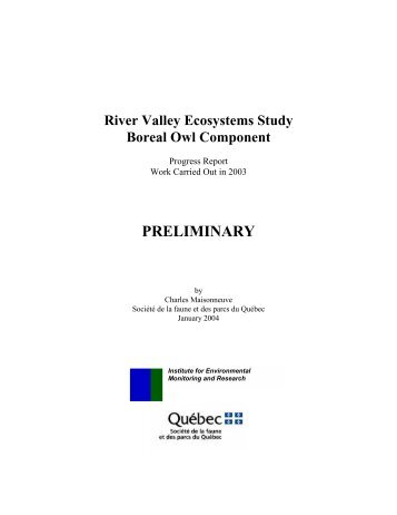 River Valley Ecosystems Study Boreal Owl Component - Iemr.org