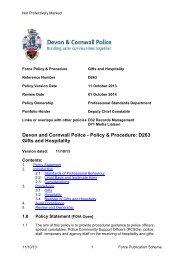 Gifts & Hospitality - Devon & Cornwall Police