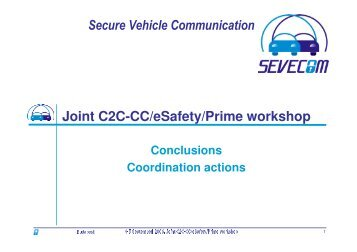 Conclusions and co-ordination of actions - Sevecom