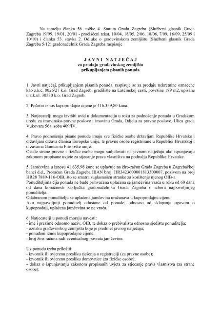 Javni natječaj za prodaju nekretnine označene kao z.k.č ... - Zagreb.hr