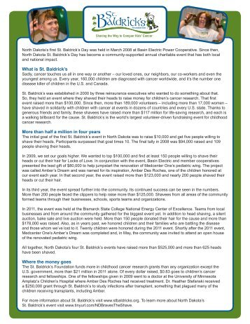 St. Baldricks info sheet 2012.pdf - Basin Electric Power Cooperative