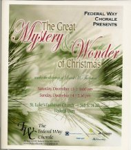 The Great Mystery & Wonder of Christmas - Federal Way Chorale
