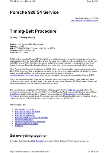 Porsche 928 S4 Service Timing-Belt Procedure