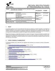10-2200 - POLITIQUE DE CONFIDENTIALITÉ ET DE ... - CHUQ