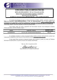 Resultado de Recursos contra Gabarito Oficial - Fundação ...