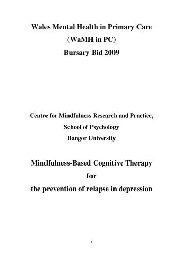 Mindfulness-based Cognitive Therapy for the Prevention of Relapse ...
