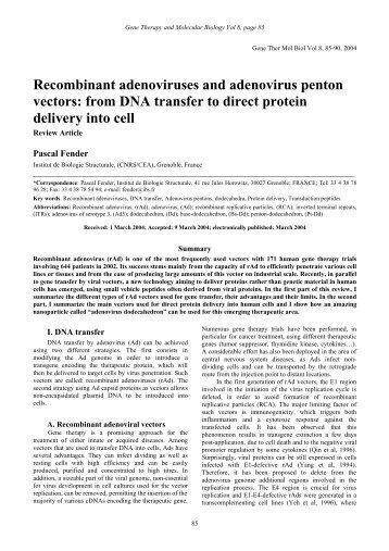 Recombinant adenoviruses and adenovirus penton vectors: from ...