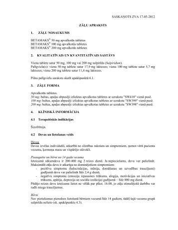 SASKAŅOTS ZVA 17-05-2012 ZĀĻU APRAKSTS 1 ... - Grindeks