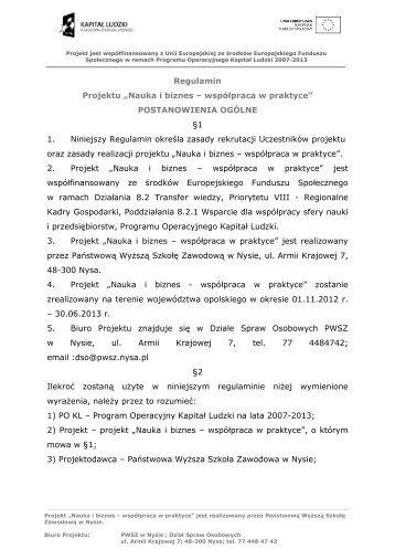 Regulamin Projektu - Państwowa Wyższa Szkoła Zawodowa w Nysie
