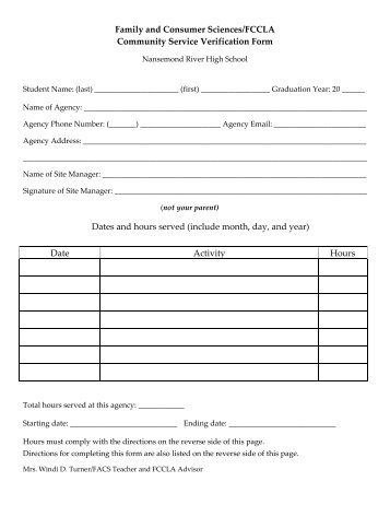 Jh Community Service Form - Valley Christian Center