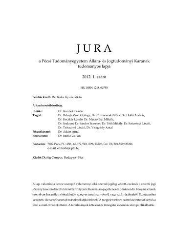 2012. évi 1. szám - Jura - Pécsi Tudományegyetem