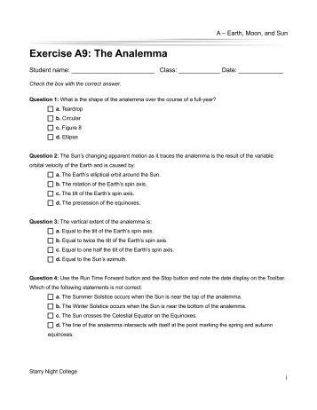 The Analemma - Starry Night Education