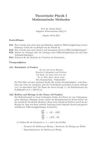 Theoretische Physik I Mathematische Methoden