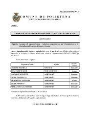 Delibera di Giunta Comunale n. 70 del 15-04-2012 - Comune di ...