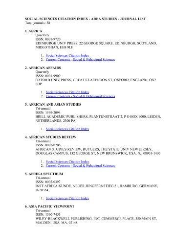 SOCIAL SCIENCES CITATION INDEX - AREA STUDIES ...