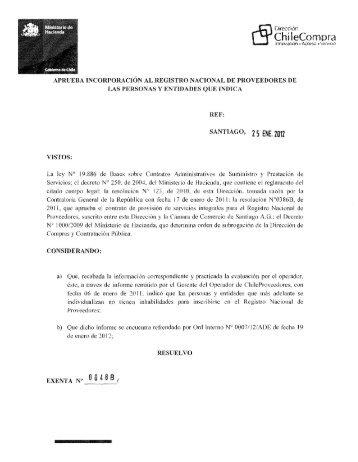 Resolución Proveedores Inscritos Diciembre 2011 - Chileproveedores