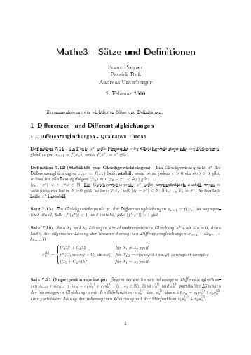 Mathe3 - Sätze und De nitionen - VoWi