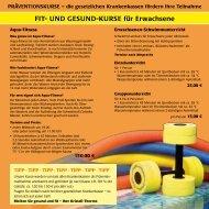Flyer Gesund und Fit-Kurse / Schwimmkurse Erwachsene
