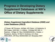 Progress In Developing Dietary Supplement Databases At NIH