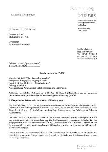 Rundschreiben Nr. 37/2002 - Schule mehrsprachig