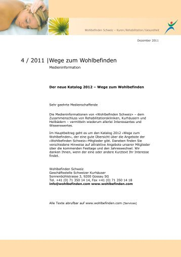 Newsletter Nr. 4 / 2011 - Wohlbefinden Schweiz
