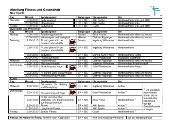 Abteilung Fitness und Gesundheit - des TV-Seulberg