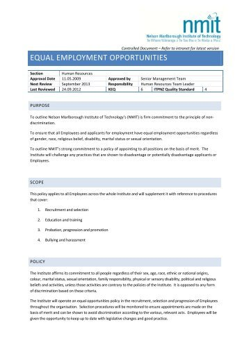 EQUAL EMPLOYMENT OPPORTUNITIES - NMIT