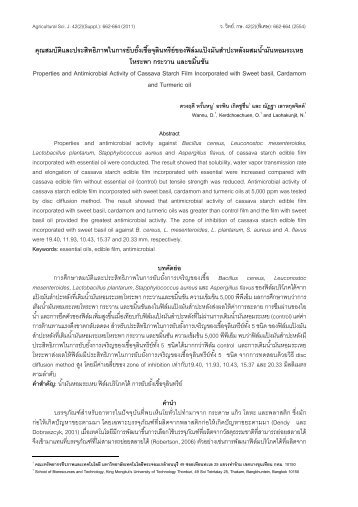 Properties and Antimicrobial Activity of Cassava Starch Film ... - CRDC