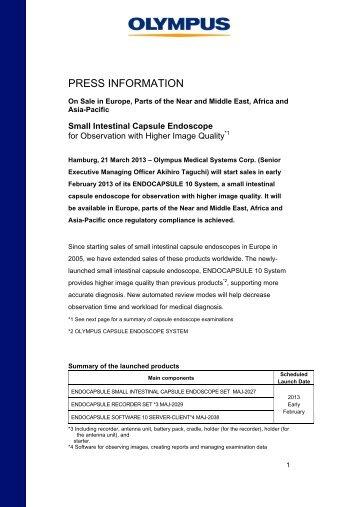 PRESS INFORMATION - Olympus