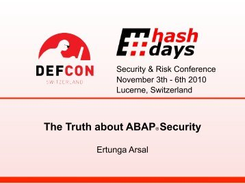 Ertunga Arsal - The Truth About ABAP Security - myWeb