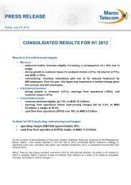consolidated results for h1 2012 - Maroc Telecom