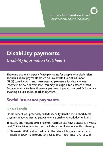 Disability payments - Inclusion Ireland