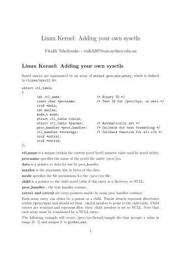 Linux Kernel: Adding your own sysctls - Current UG