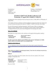 Invitation to Half Yearly Results Conference Call ... - Antofagasta plc
