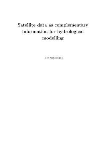 Satellite data as complementary information for ... - Hydrology.nl