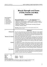 Muscle Strength and Power of Elite Female and Male Swimmers