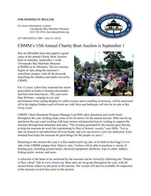 CBMM's 15th Annual Charity Boat Auction - Chesapeake Bay