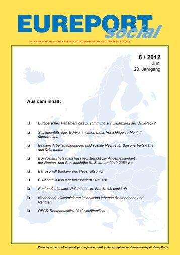 EUREPORTsocial, Ausgabe 6/2012 - Deutsche Sozialversicherung