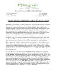Sprains, Strains & Automobiles: A First Aid Primer – Part I