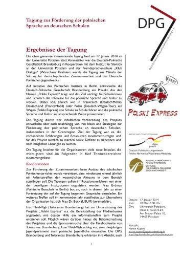 Ergebnisse der Tagung - Deutsch-Polnische Gesellschaft ...