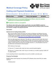Medical Coverage Policy Coding and Payment Guidelines