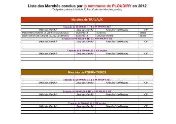 Liste des Marchés conclus par la commune de PLOUDIRY en 2012