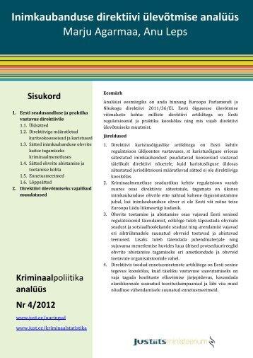 Inimkaubanduse direktiivi ülevõtmise analüüs. Justiitsministeerium ...