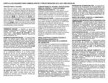 carta a los hogares para comidas gratis y precio reducido 2012 ...