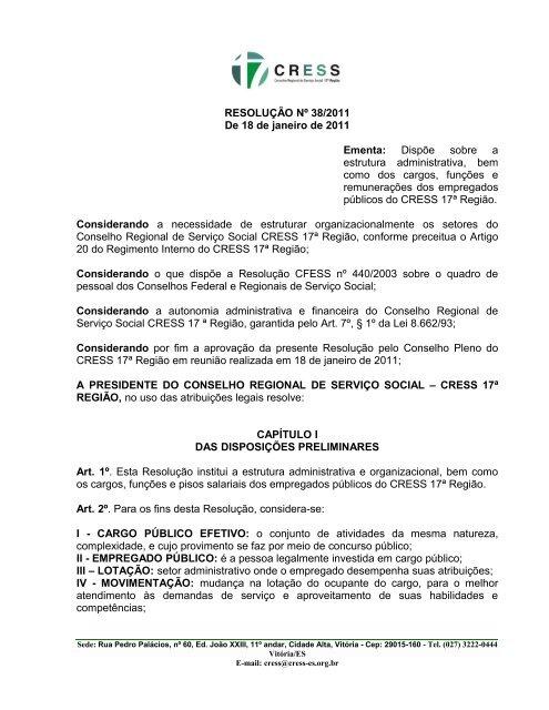 Resolução CRESS 38-2011 - Conselho Regional de Serviço