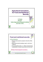 Agricultural Innovations for Food and Nutritional Security