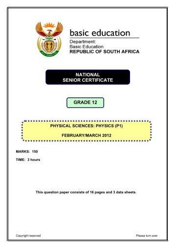 graad 12 national senior certificate grade 12 - Department of Basic ...